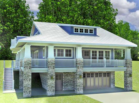 Craftsman home with drive under garage 18277be for Garage under house designs