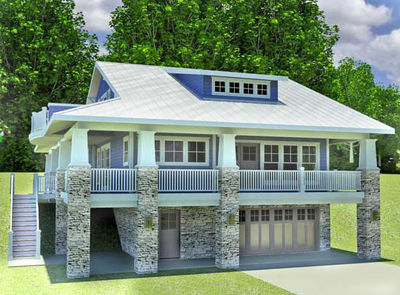 Craftsman home with drive under garage 18277be for Garage under house plans