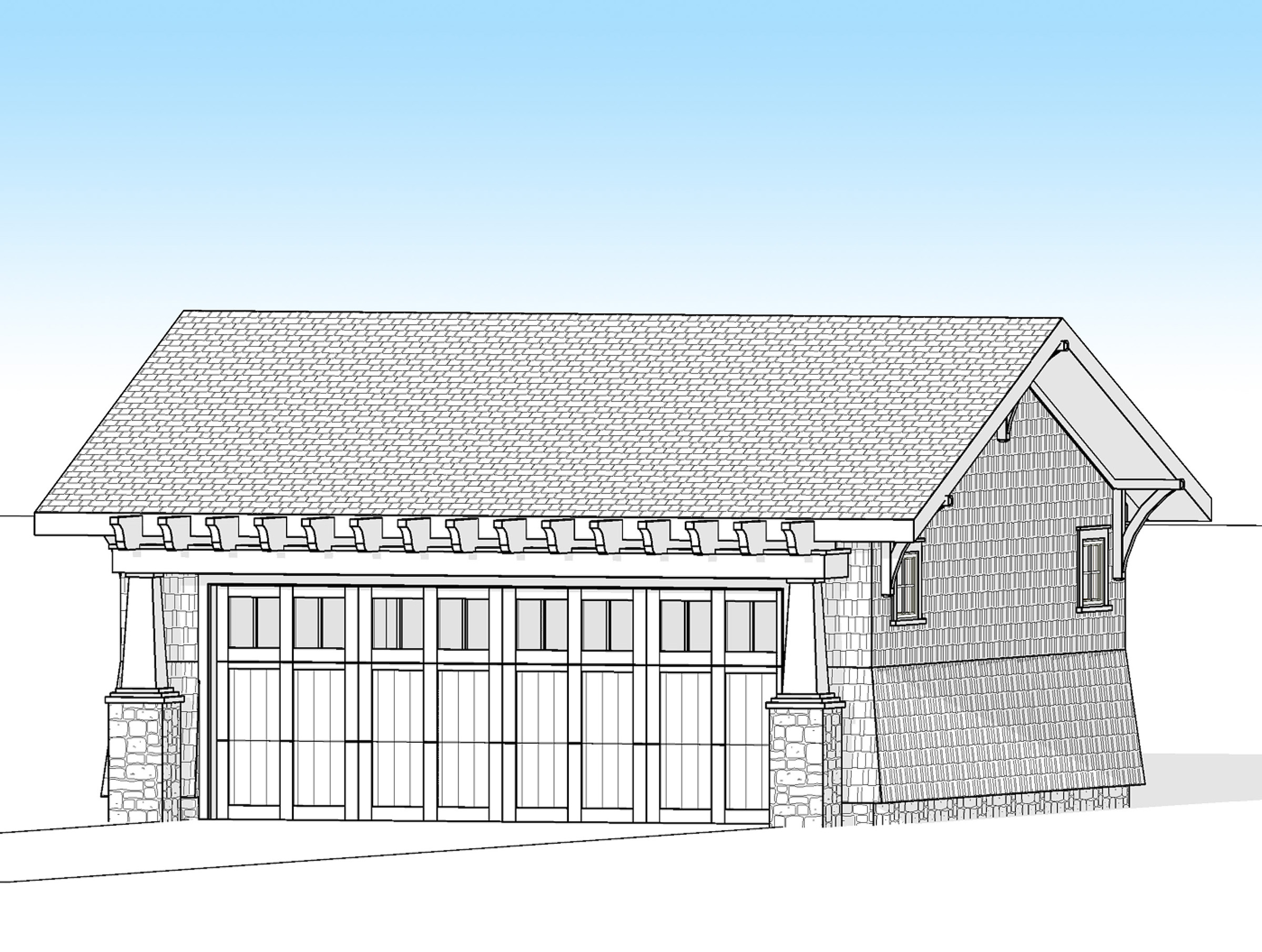 Craftsman 2 car detached garage 18278be architectural for 2 car garage house plans