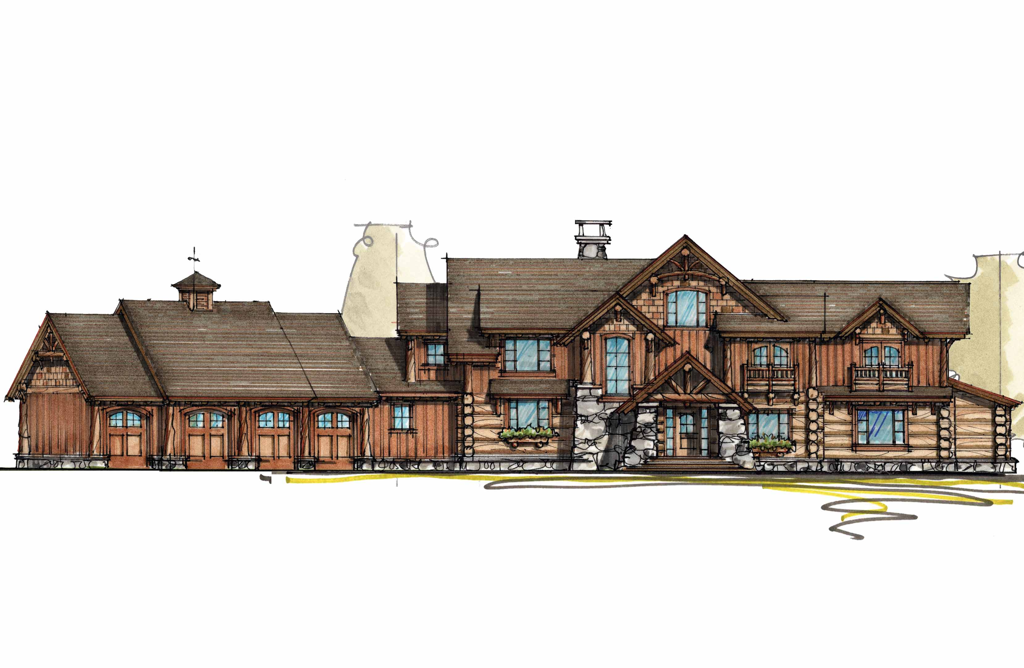 Mountain lodge with sun room 18704ck architectural for Mountain lodge house plans
