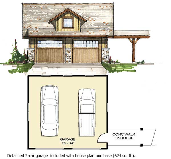Cabin Retreat with Detached Garage 18738CK – House Floor Plans With Detached Garage