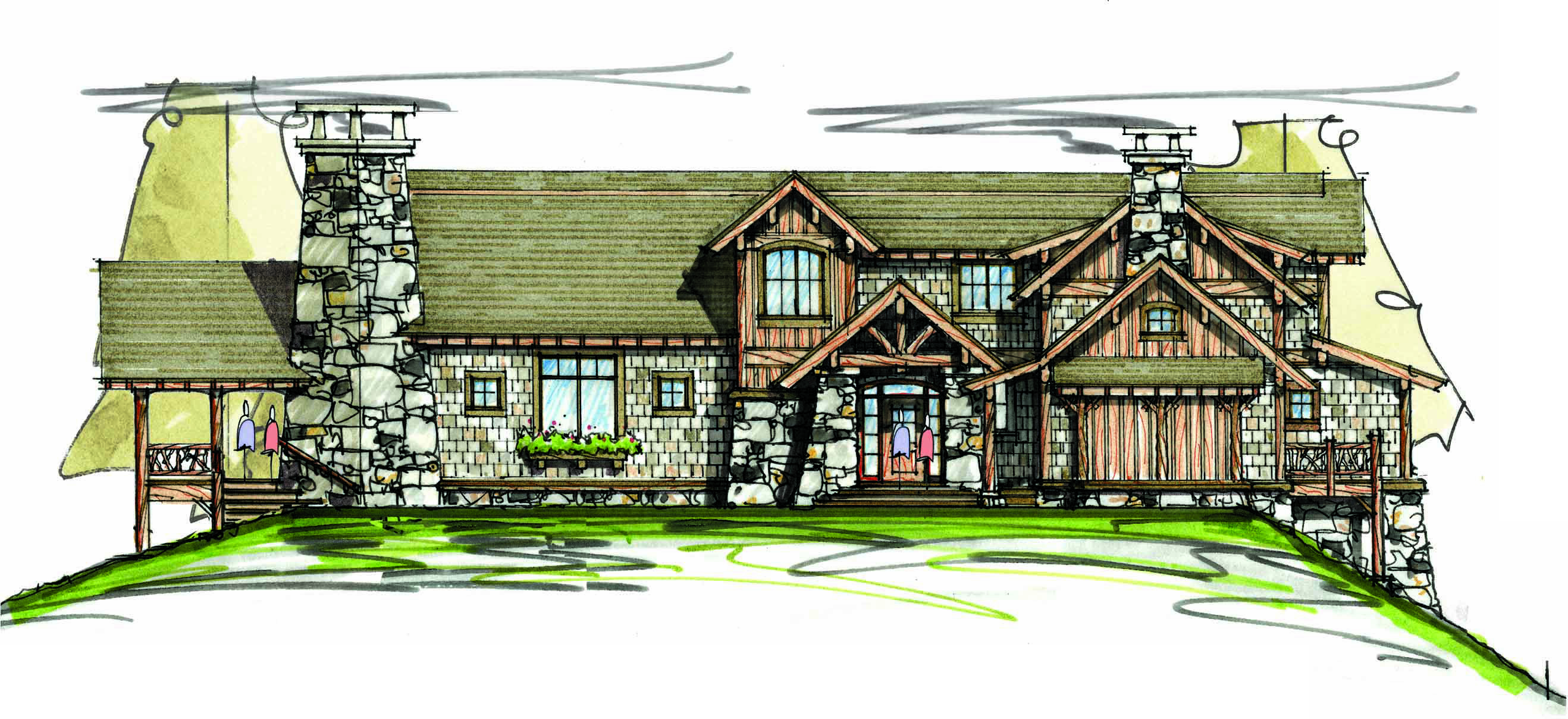 Luxurious mountain home plan 18746ck 1st floor master for Mountain house library