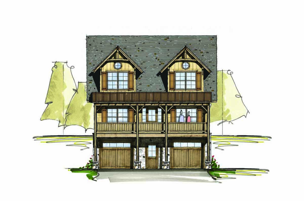 Mountain home plan for a sloping lot 18757ck 1st floor for Vacation house plans sloped lot