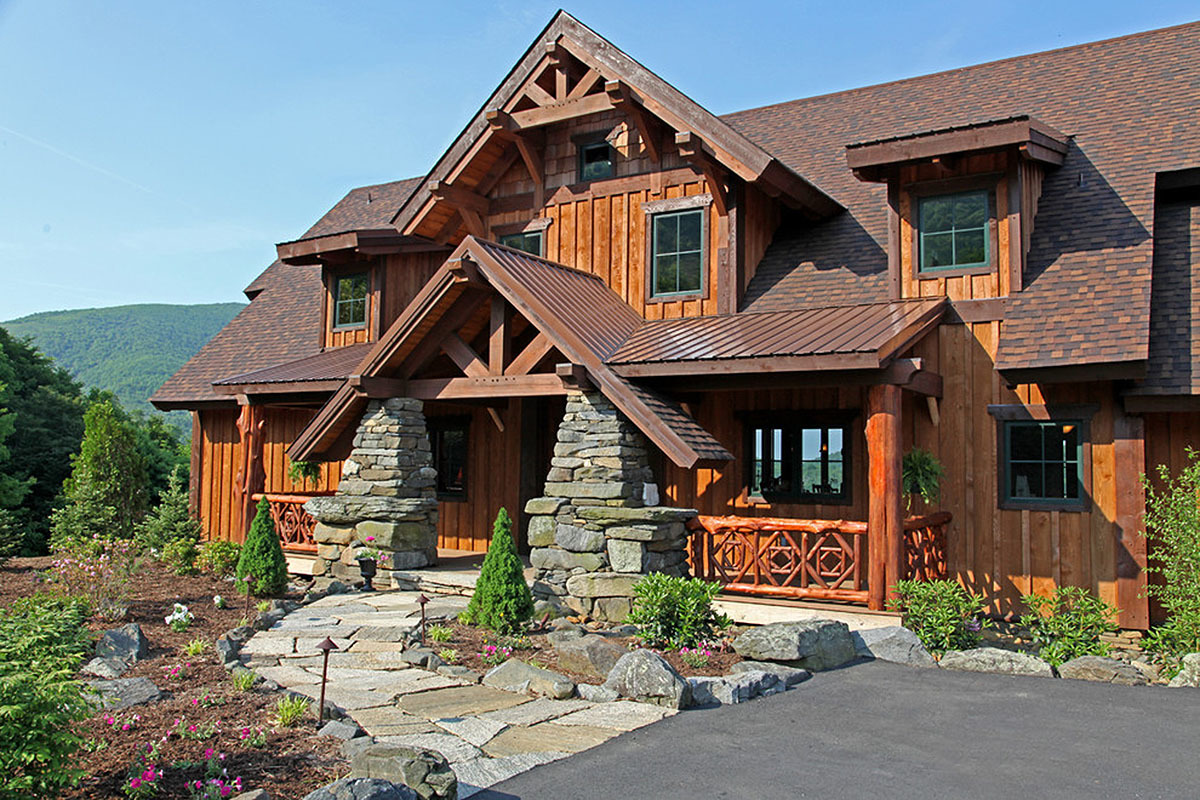 Mountain lodge with lower level 18813ck architectural for Mountain lodge house plans