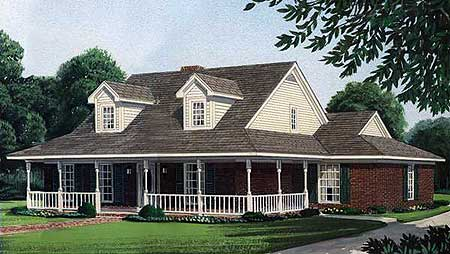 Wonderful front porch 19013gt architectural designs for House plans with porch across front