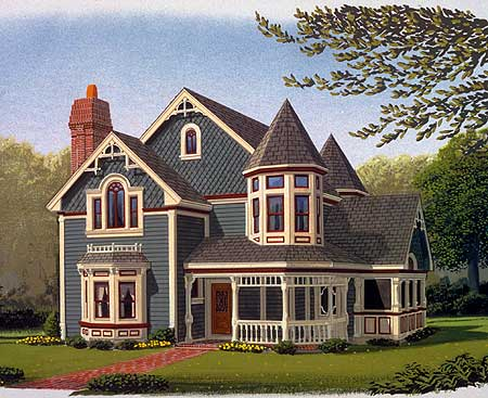 Queen anne style 19218gt 1st floor master suite for Victorian home plans