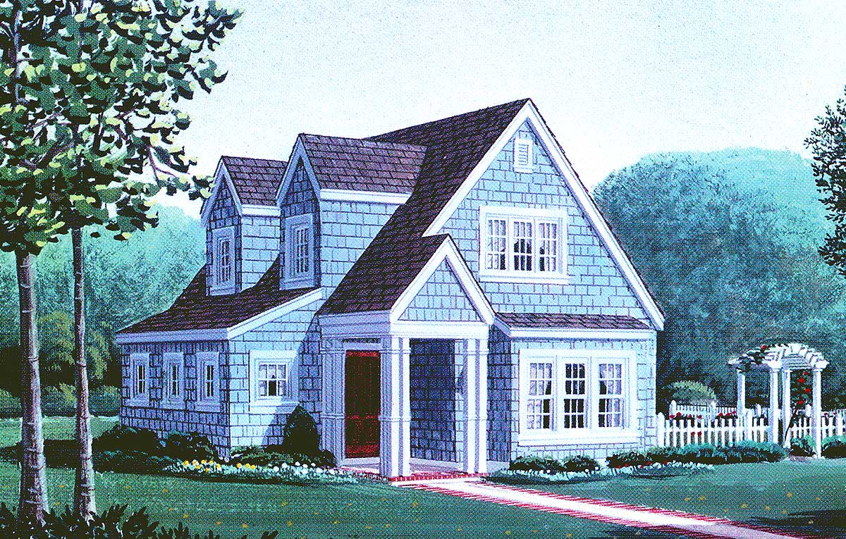 Wonderful cottage with detached garage 1958gt for Cottage home plans with garage