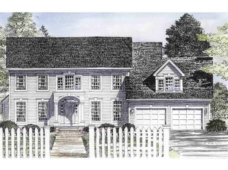 Traditional center hall colonial 19580jf architectural for Large colonial house plans
