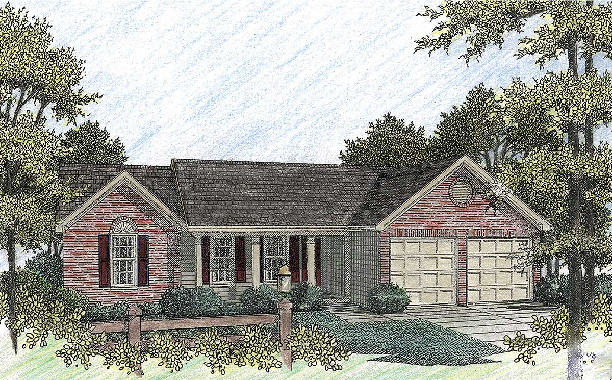 Lovely Brick Ranch 2001ga Architectural Designs
