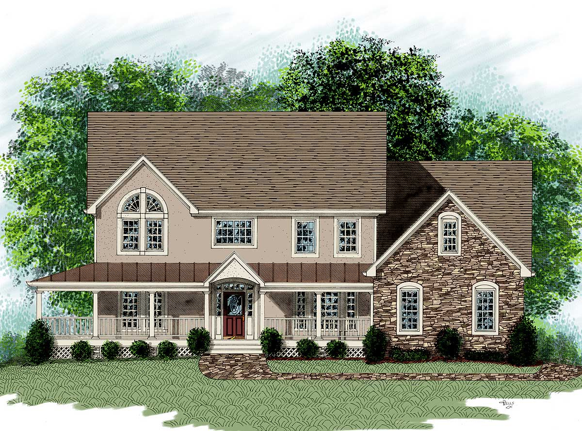 Dramatic farm house home plan 20014ga architectural Architectural designs farmhouse