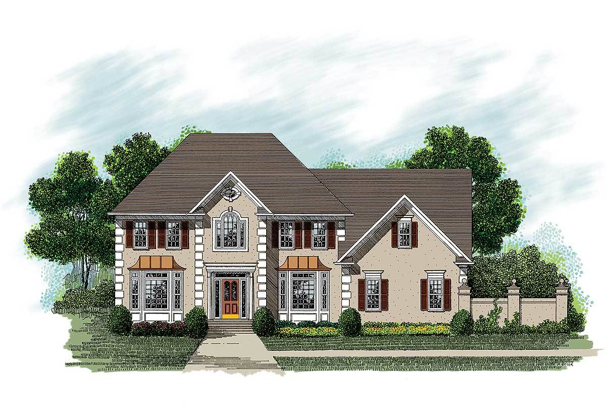 European stucco home plan 20018ga 2nd floor master for Stucco home plans
