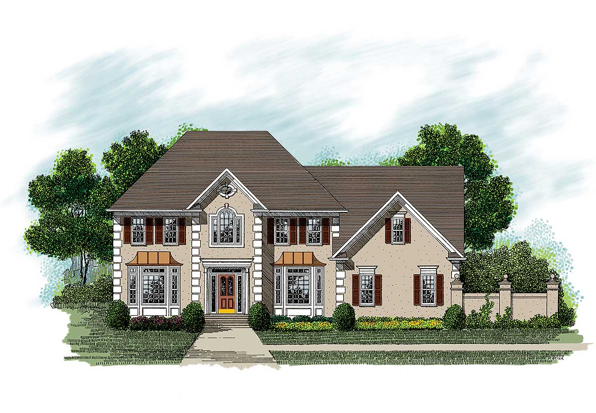 european stucco home plan 20018ga architectural designs house plans. Black Bedroom Furniture Sets. Home Design Ideas