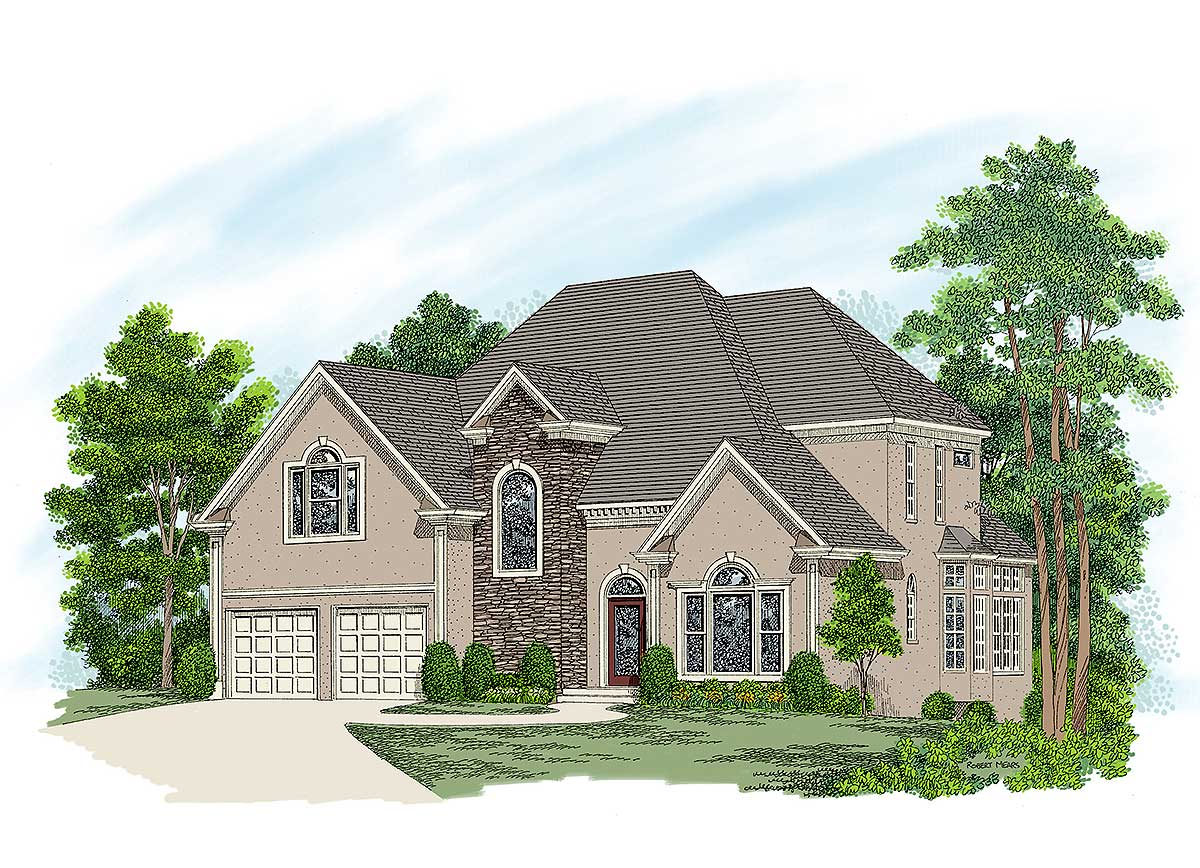 European stucco home plan 20019ga architectural for Stucco home plans