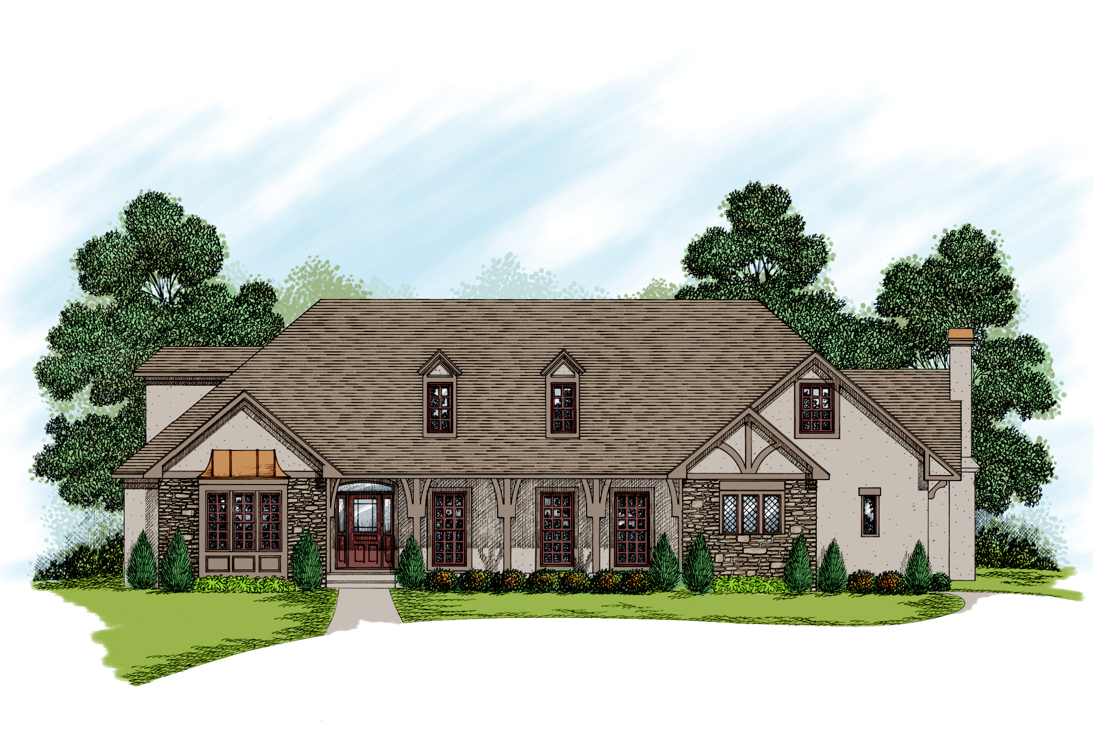 Two story traditional home plan 20027ga 1st floor for Traditional house plans two story