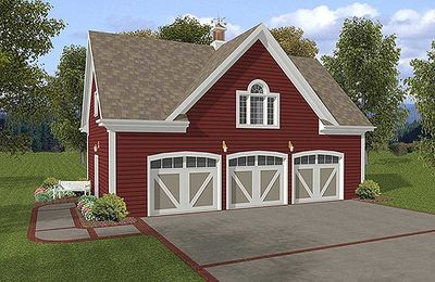 3-Car Carriage House Plan - 20041GA thumb - 01