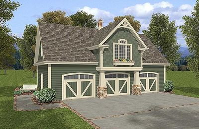 3-Car Carriage House Plan - 20042GA thumb - 01