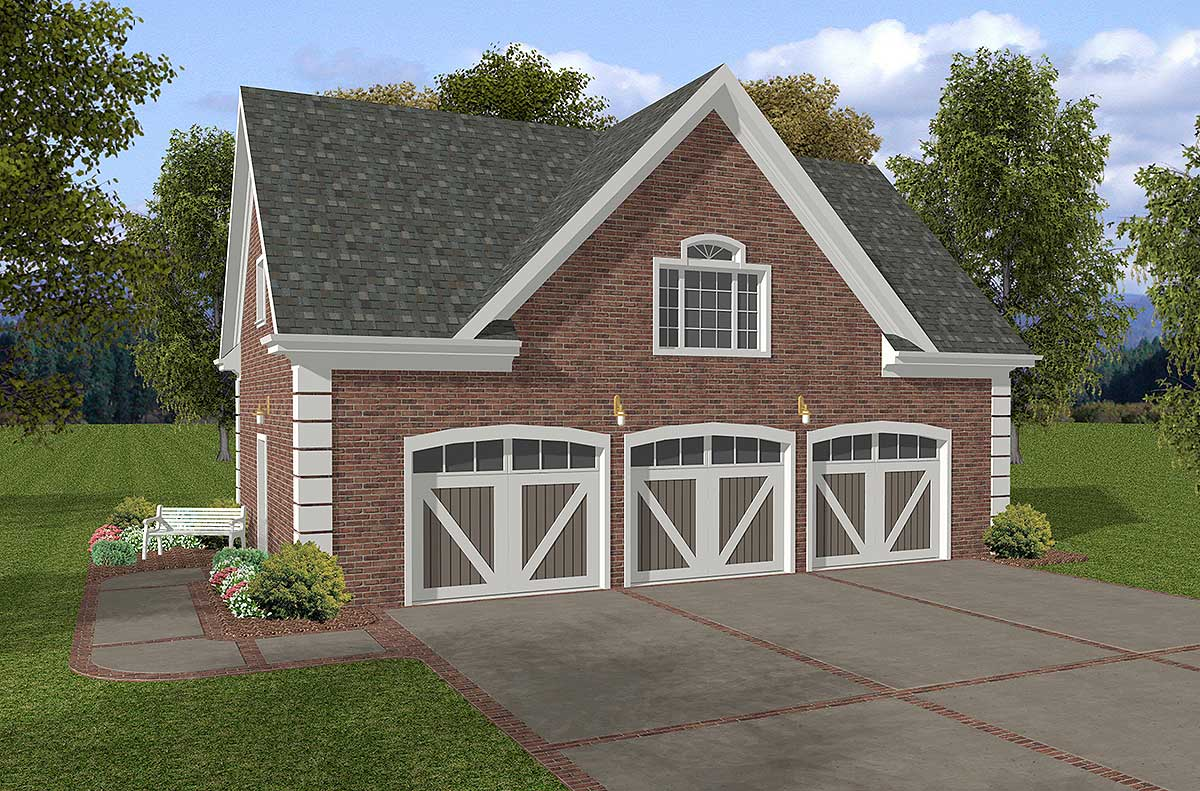 Brick 3 car garage with storage above 20053ga cad for Brick garage plans