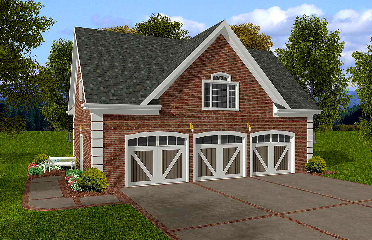Brick 3 car garage with storage above 20053ga for Brick garage plans