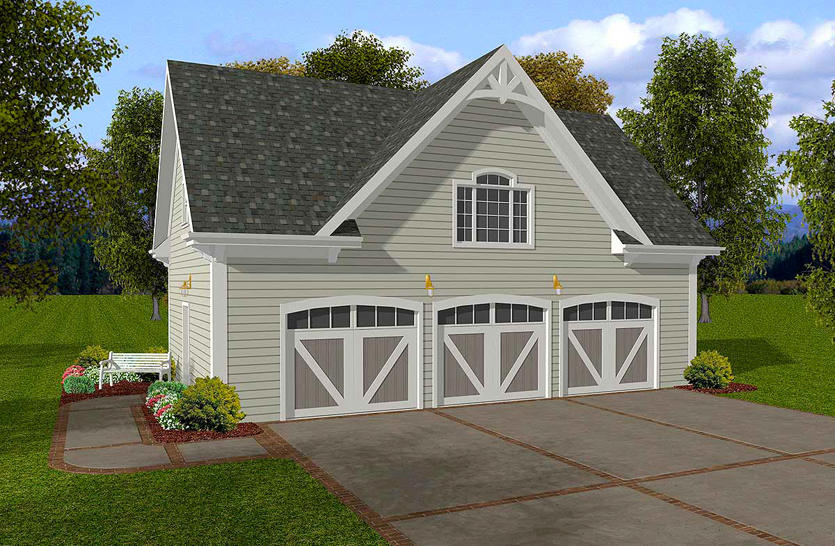 Design Blueprints For A Garage: Siding Three-Car Garage With Storage Above