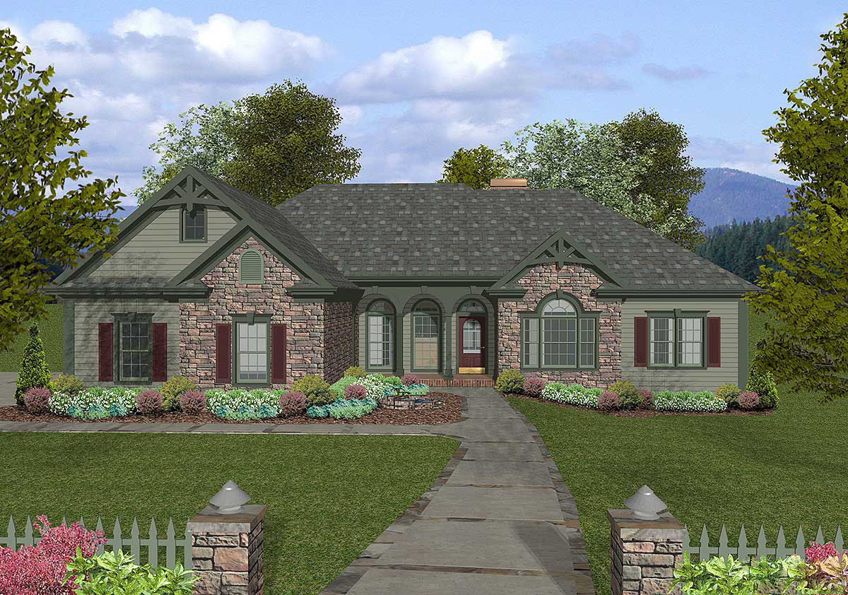 Old world exterior with optional versions 20057ga for Old world home plans