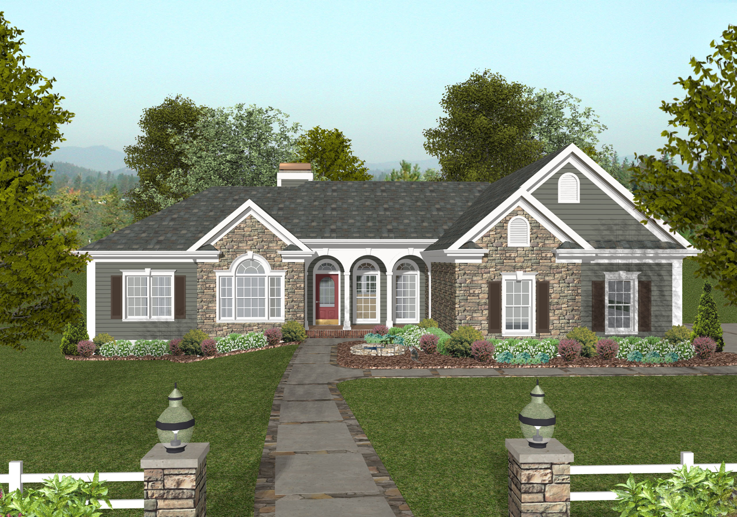 Lovely craftsman ranch 20064ga 1st floor master suite for Free craftsman house plans