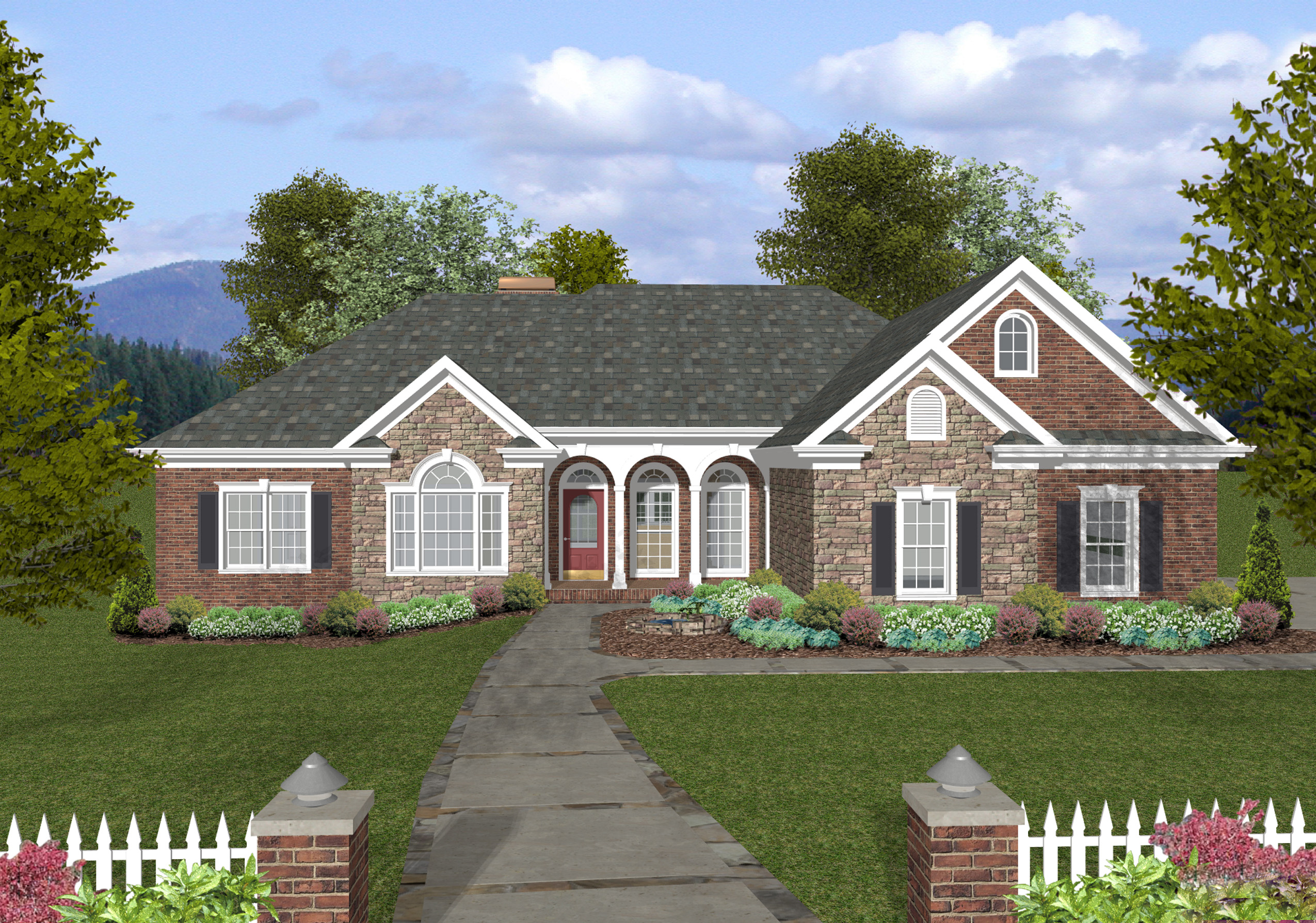 Brick and stone with vaulted porch 20065ga 1st floor for Single story brick house plans