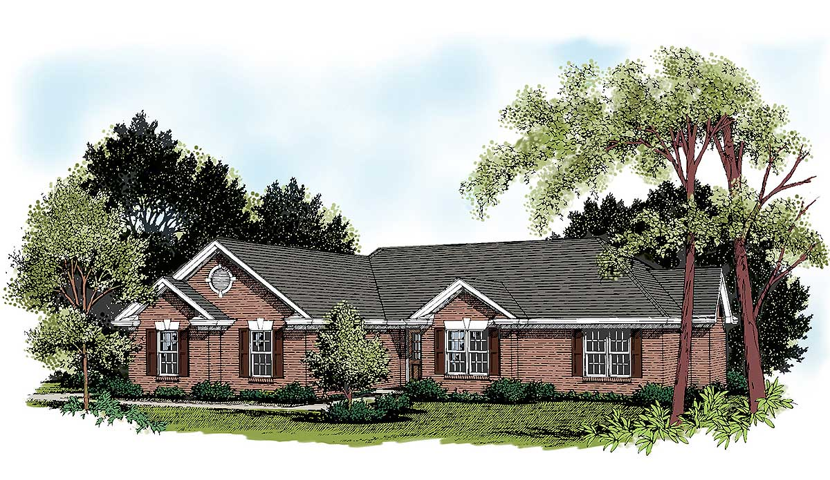 Traditional Brick Ranch 2007ga Architectural Designs