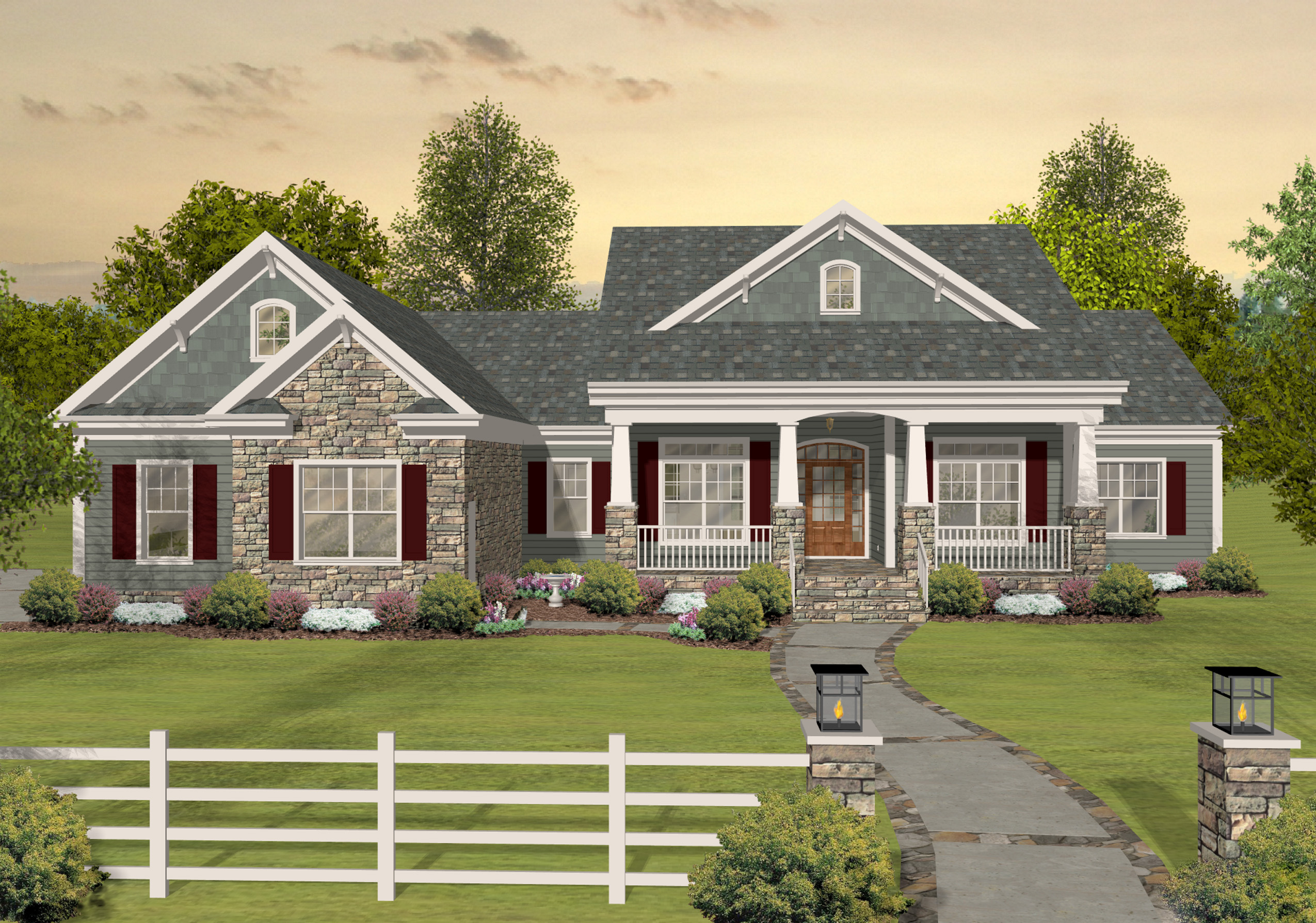 One story exterior house plans - Flexible Ranch With Loaded Optional Lower Level 20078ga Architectural Designs House Plans