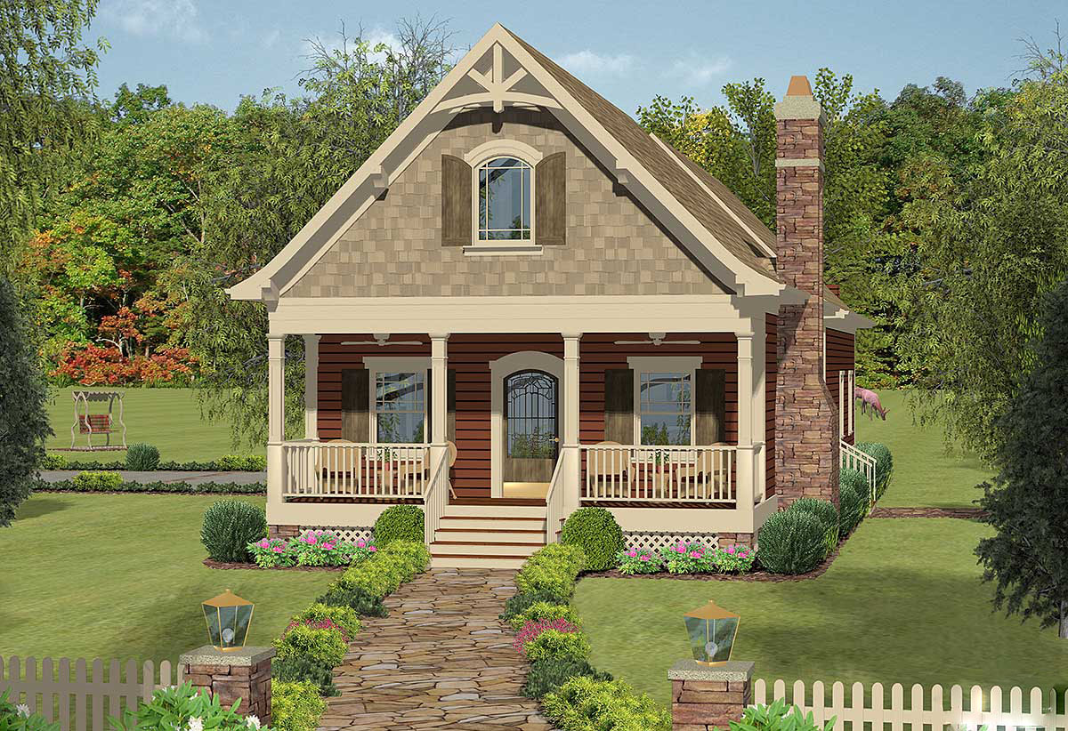 Narrow lot cottage with in law suite 20079ga for Bungalow house plans with inlaw suite