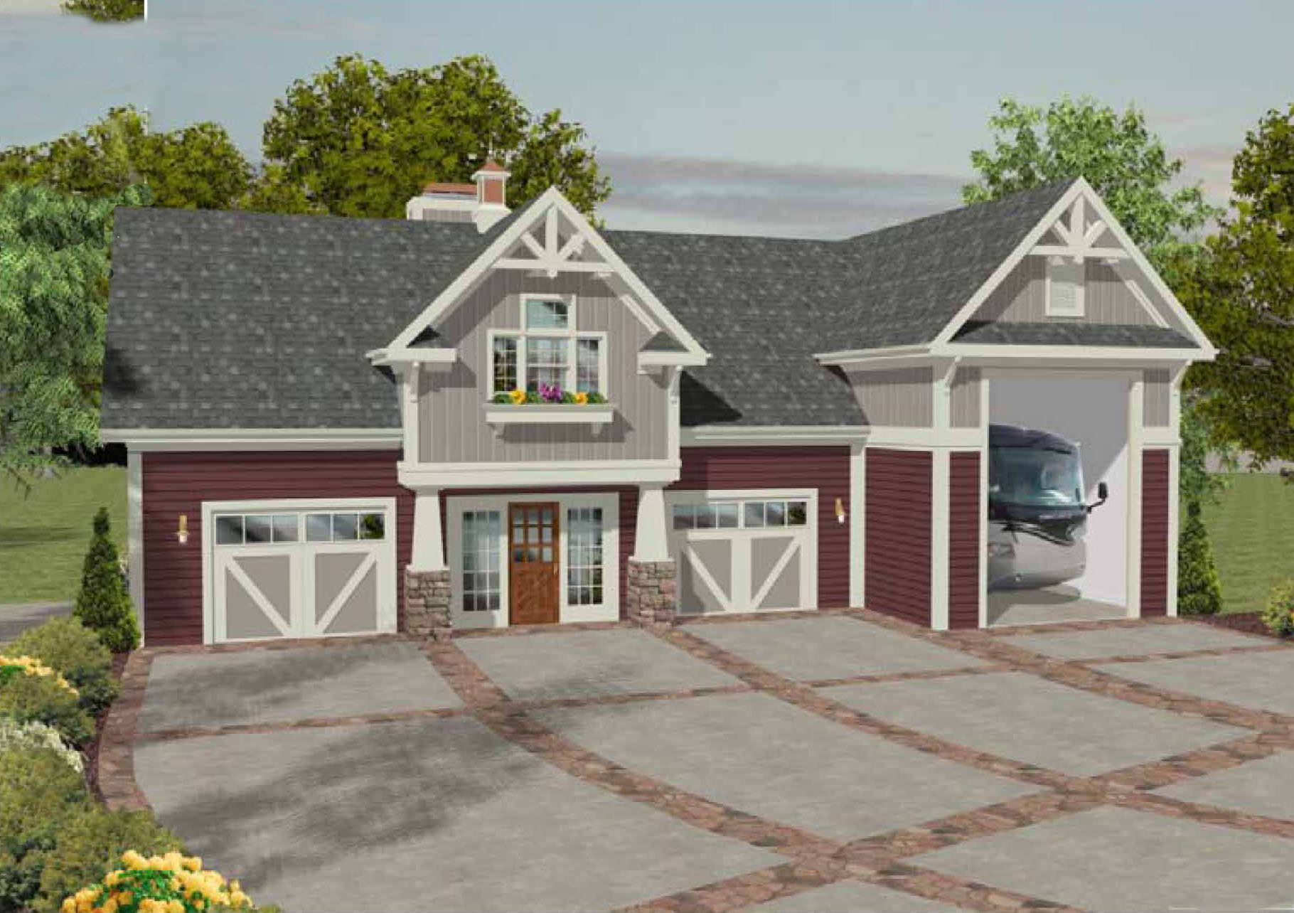 Architectural designs for Apartment homes with attached garage