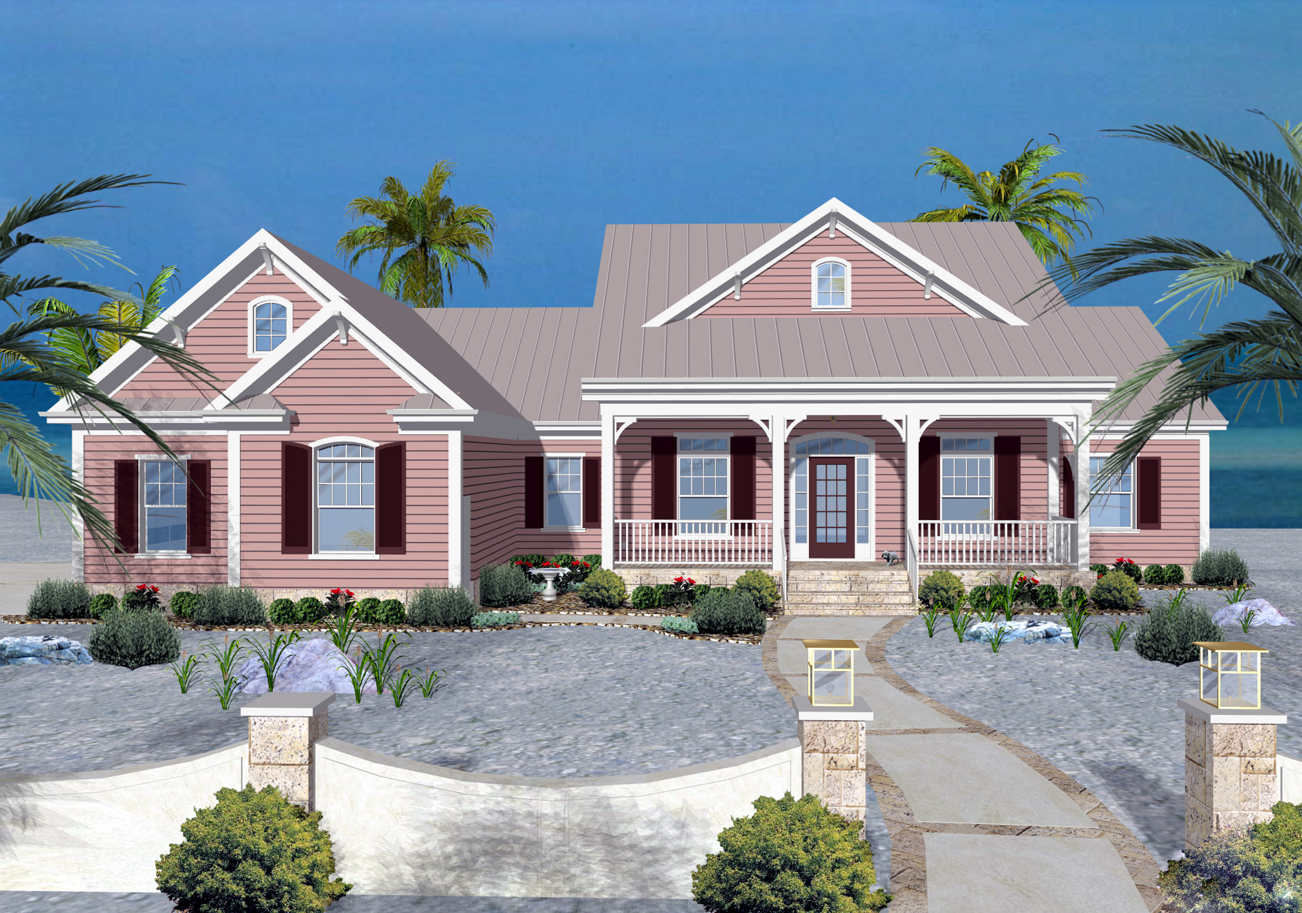 Seaside cottage 20098ga 1st floor master suite bonus for Corner lot home designs