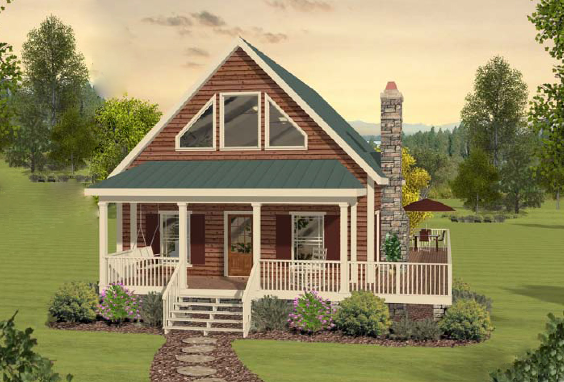 Two bedroom cottage home plan 20099ga 1st floor master for House plans with loft and wrap around porch