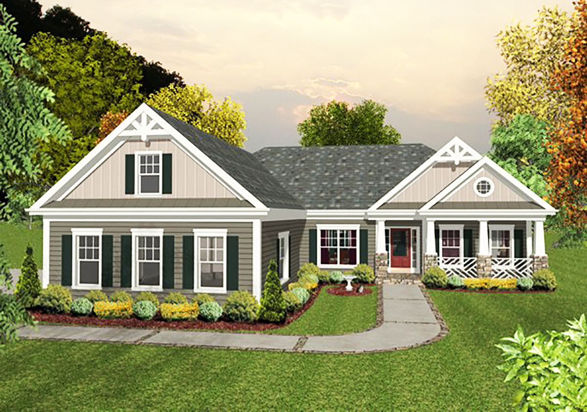 3 Car Craftsman Ranch Home Plan - 20103GA