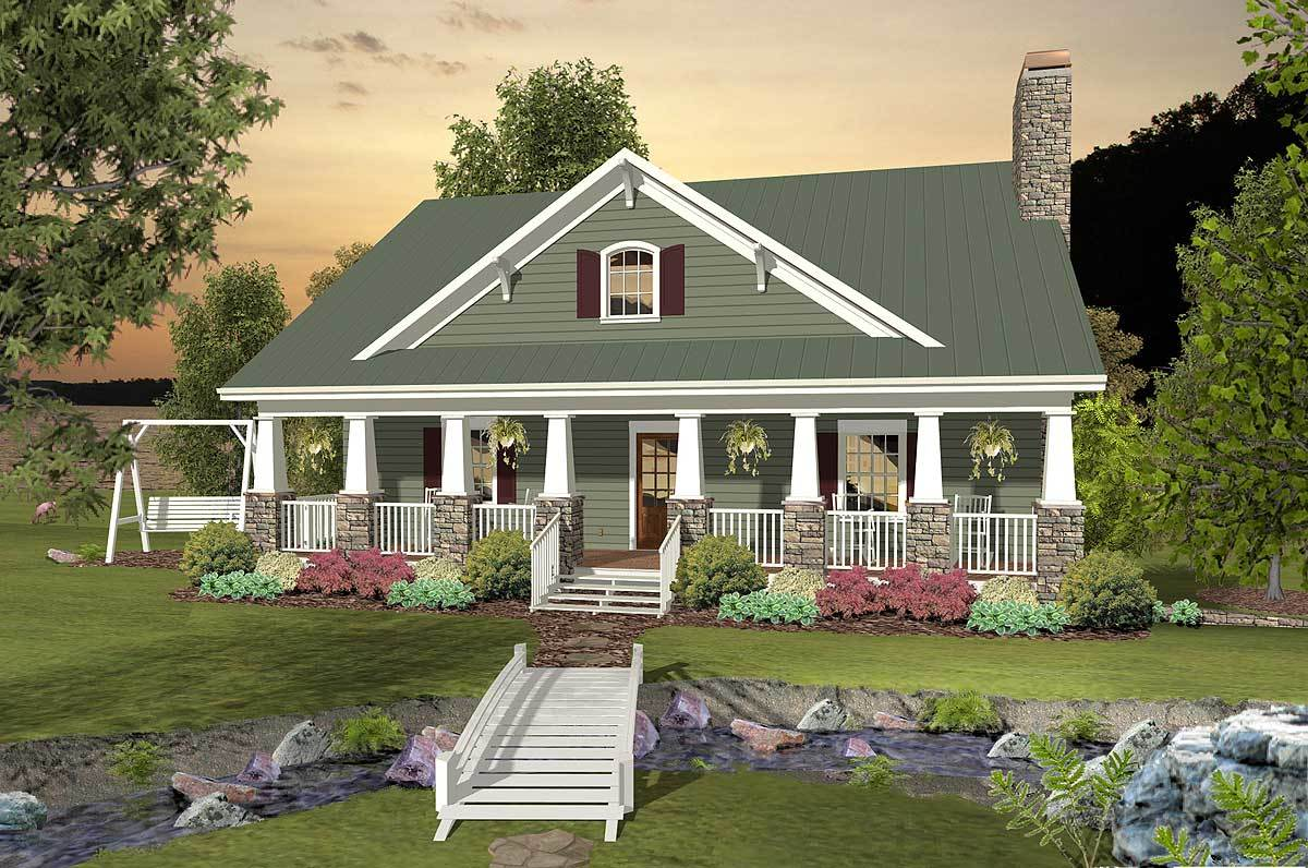 Country craftsman with drive under garage 20104ga for Reverse one and a half story house plans