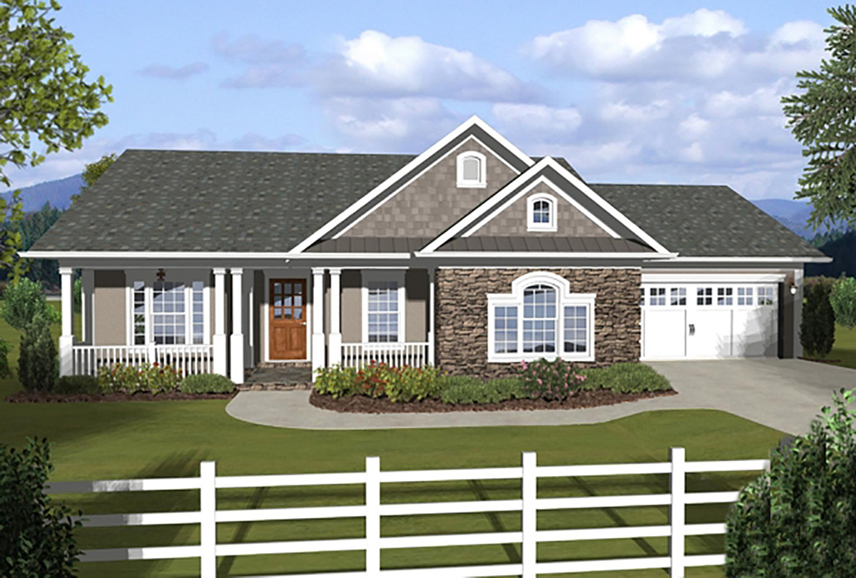 3 bedroom ranch with covered porches 20108ga 1st floor for Ranch house plans with 3 car garage