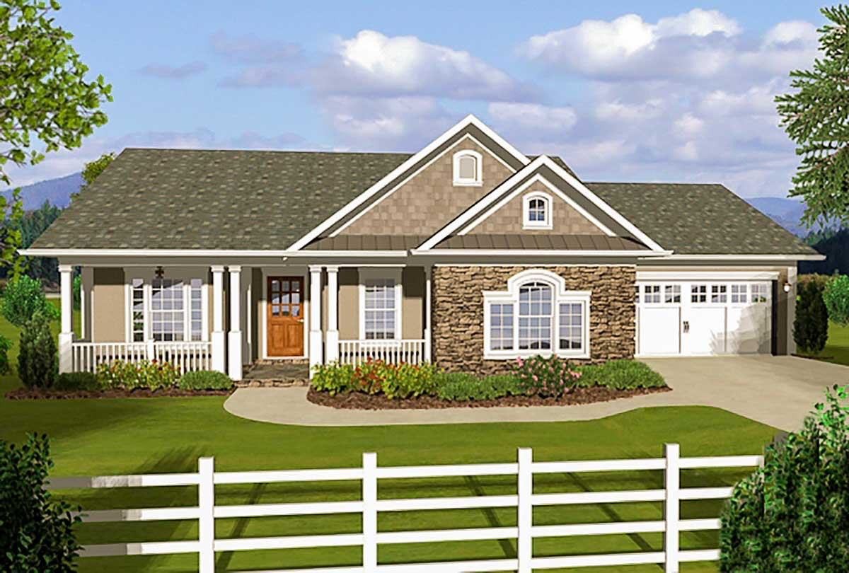 3 Bedroom Ranch With Covered Porches 20108ga
