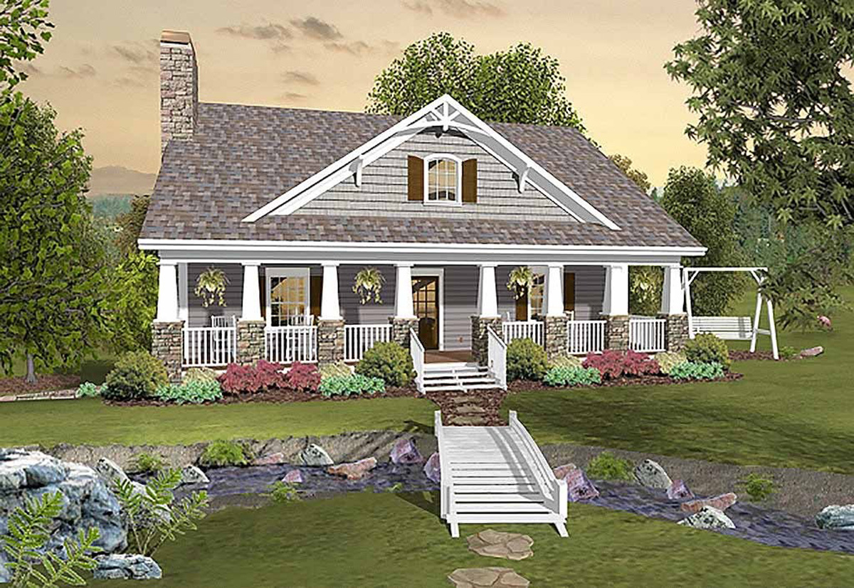 Country craftsman with matching back porches 20109ga for House plans with large front and back porches