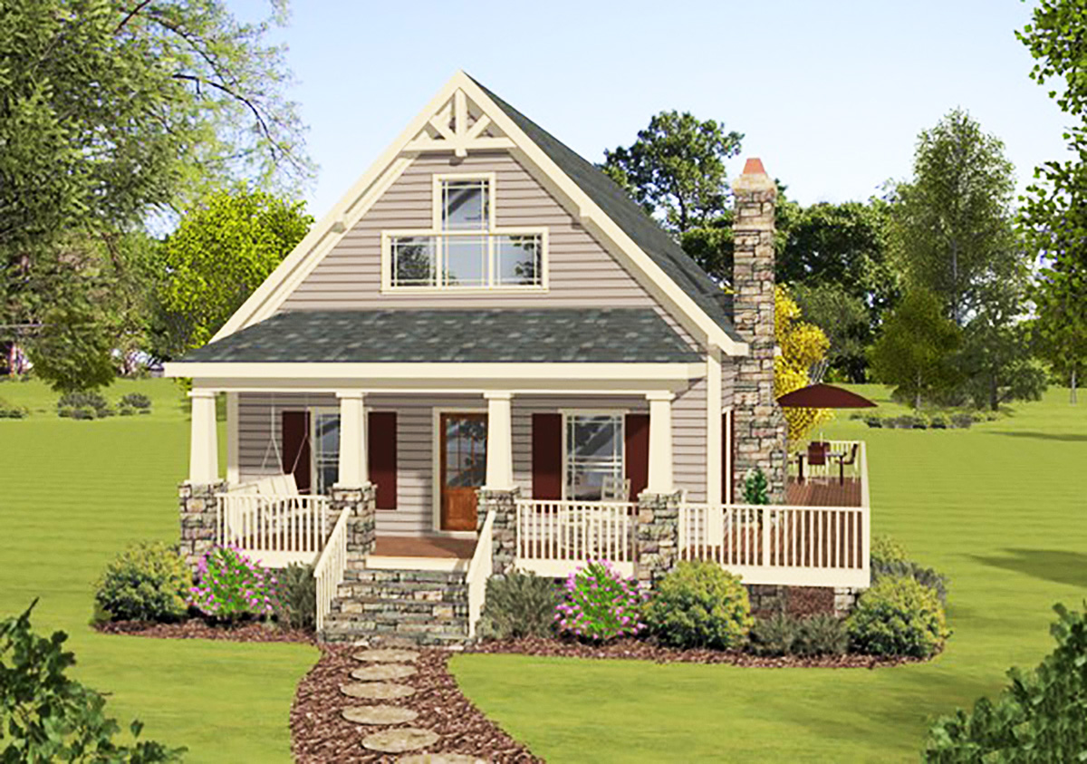 Master up cottage with private deck 20111ga for Master up house plans
