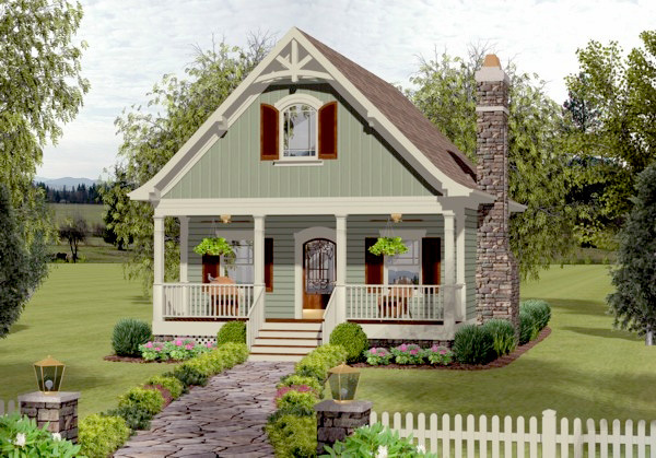 Cozy cottage with bedroom loft 20115ga architectural for Small cozy home plans