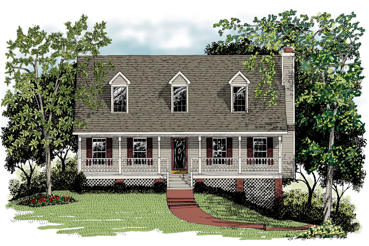 Classic one and one half story house plan 2012ga for One and a half storey house plans