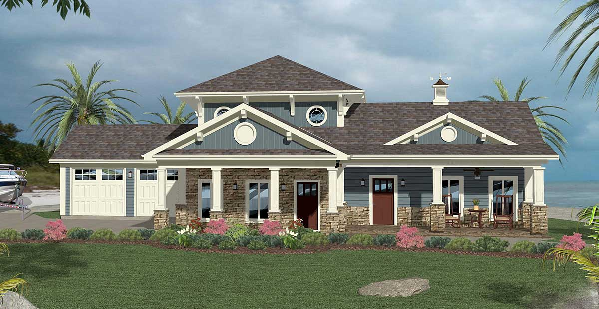 House plan with his and her baths 20124ga 1st floor for Wood piling foundation cost