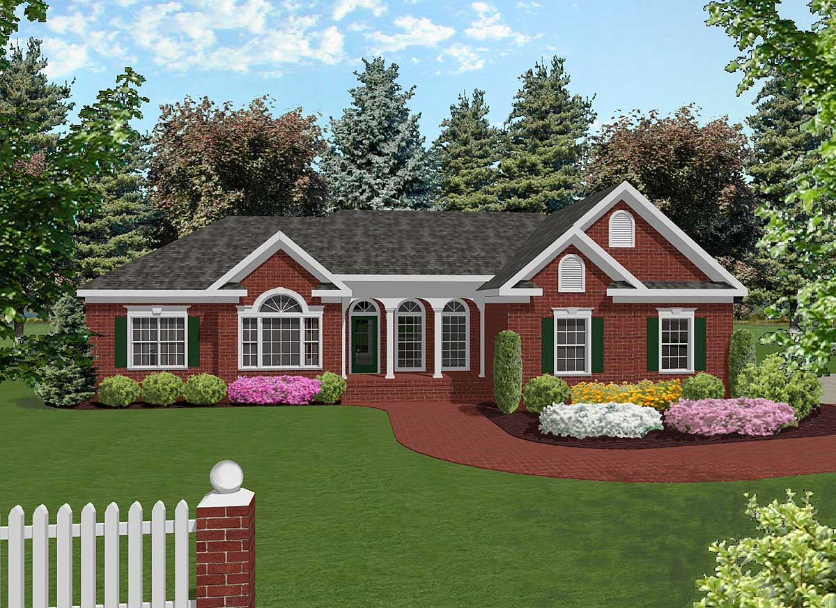 Attractive mid size ranch 2022ga architectural designs for One story ranch style home floor plans