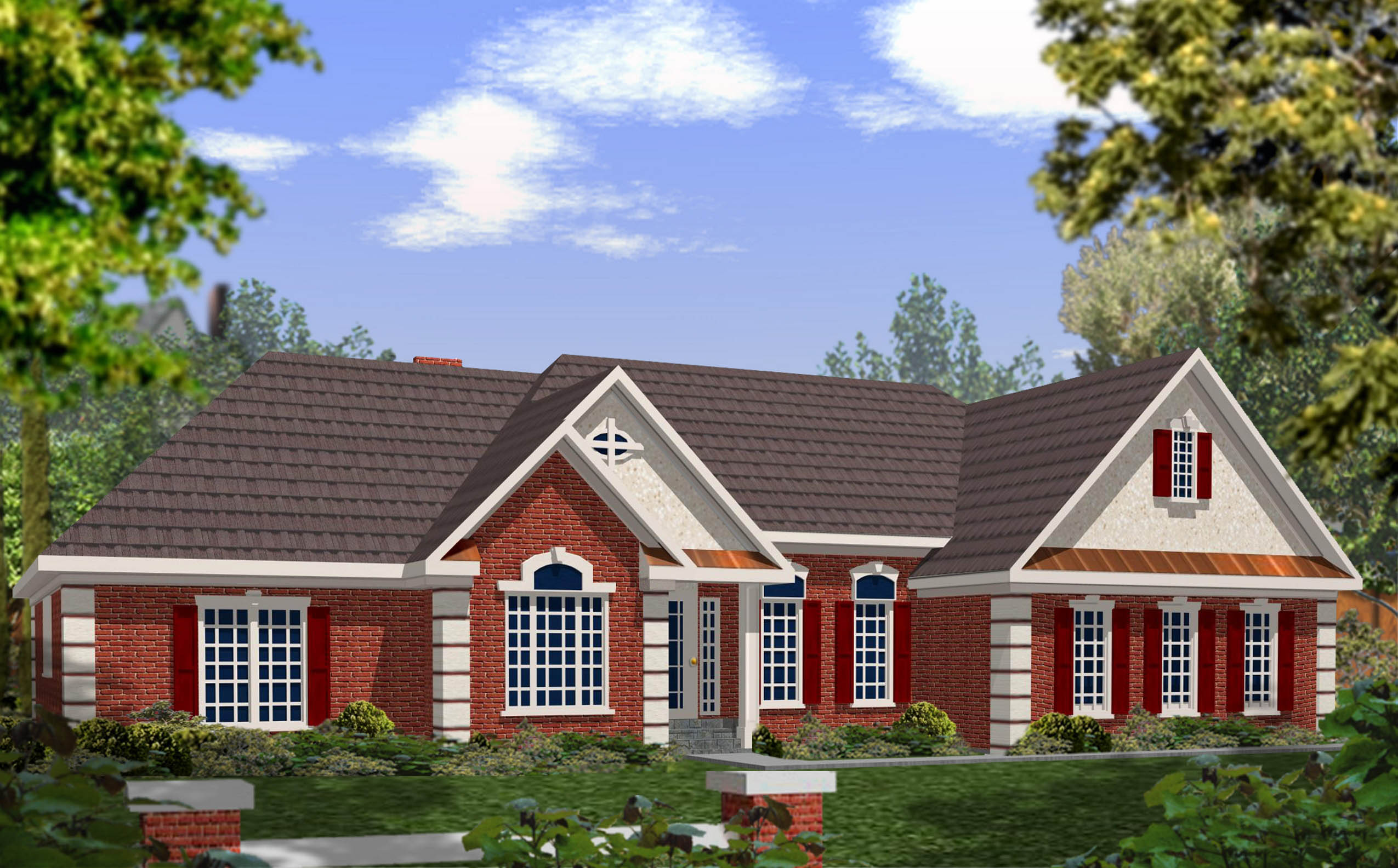 Dramatic brick and stucco ranch 2029ga 1st floor master suite cad available corner lot - Brick house plans ...