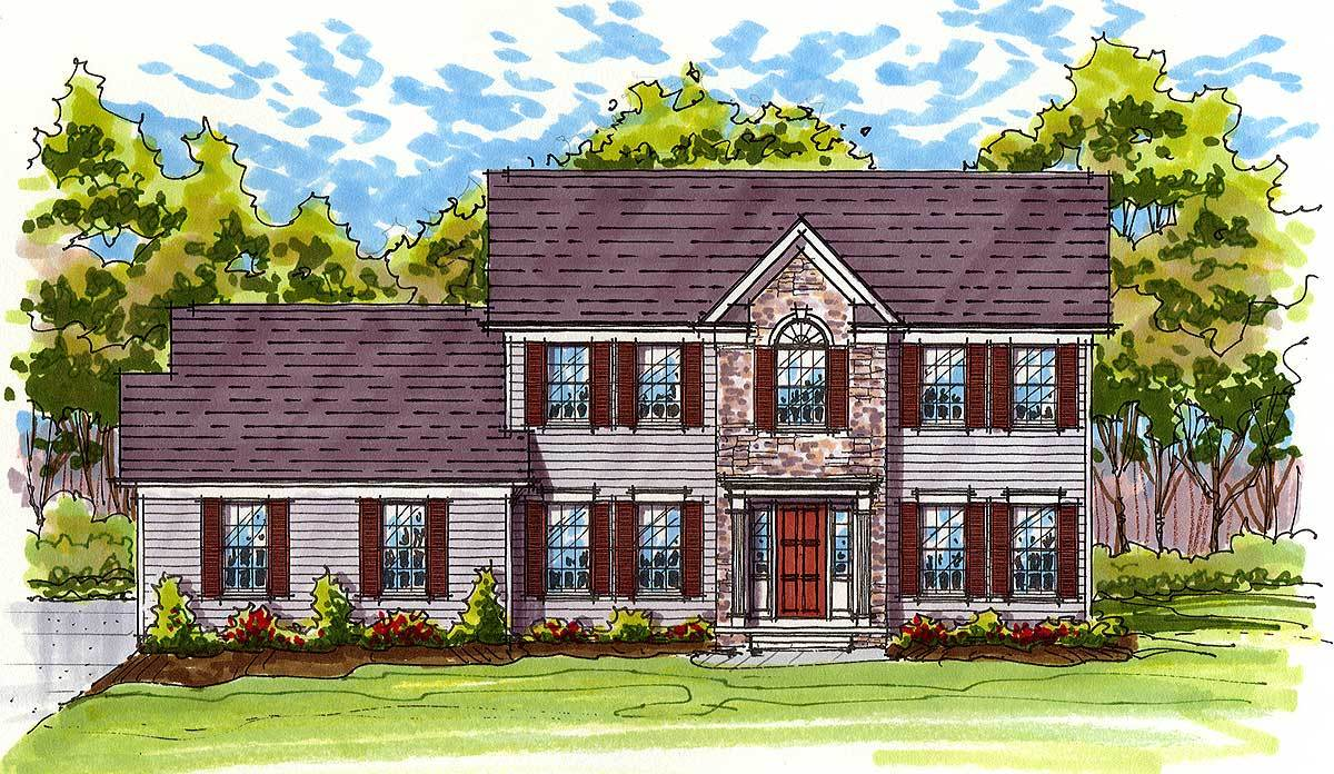 Classic colonial exterior 20519dv architectural for Large colonial house plans