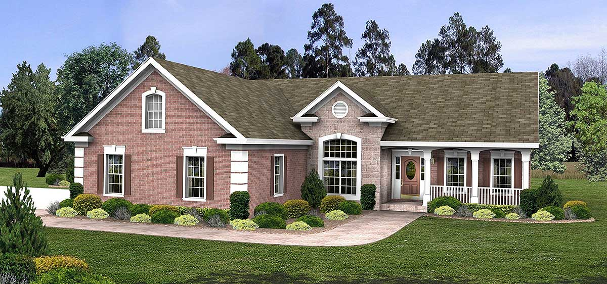 Distinctive ranch home plan 2060ga 1st floor master for Ranch style house plans with bonus room
