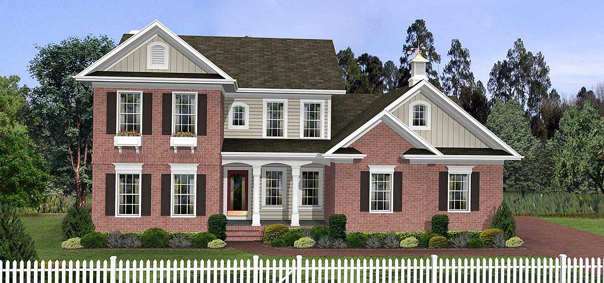 Traditional two story home plan 2063ga architectural 2 story traditional house plans