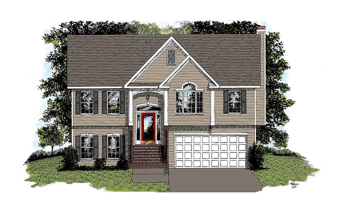 Traditional split level home plan 2068ga architectural for Split house plans