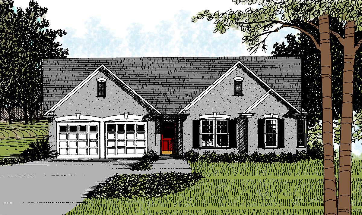 Traditional starter ranch home plan 2072ga for Traditional ranch home plans