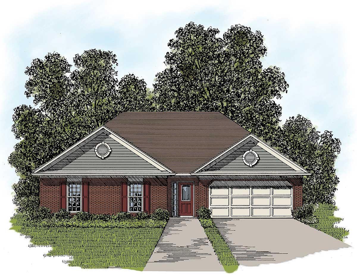 Three Bedroom Ranch - 2074GA   Architectural Designs ...