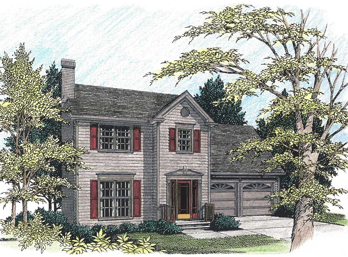 Classic two story starter home 2077ga architectural for Small starter house plans